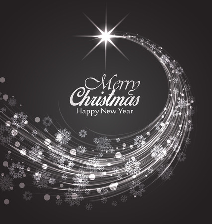 snowfalls: Merry Christmas card, Happy New Year background
