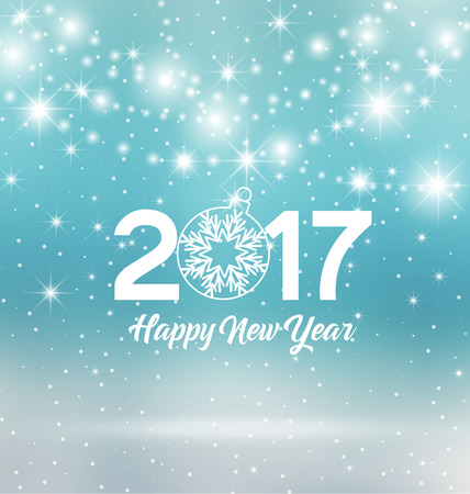 new years parties: Happy New Year 2017, illustration Christmas background
