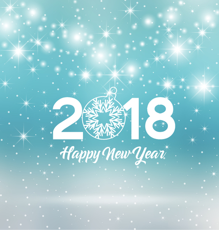Happy New Year 2018,  illustration Christmas background
