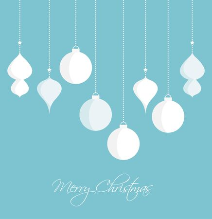 christmas backgrounds: Vector Christmas balls on a blue background, Merry Christmas card