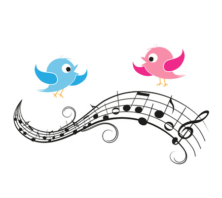 cartoon vector illustration of a nightingale belting out notes rh 123rf com Music Notes Symbols Music Notes