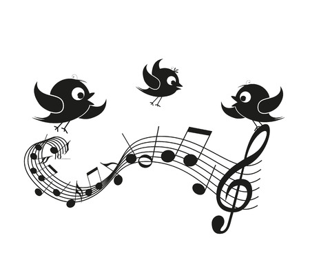 animal silhouette: Musical notes with birds