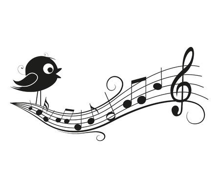 ruiseñor: Ilustración vectorial de una música de fondo con el pájaro, las notas musicales