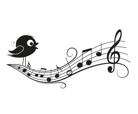 bird nightingale: Vector illustration of a music background with bird, musical notes