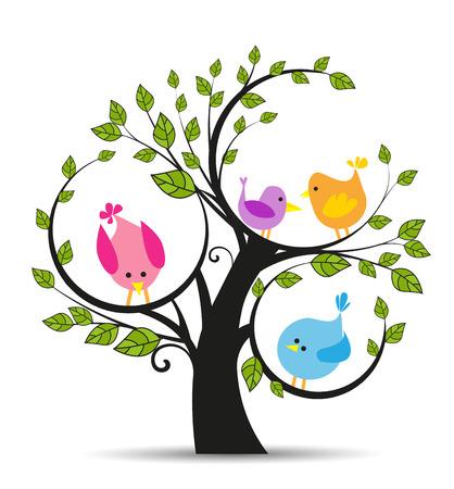 Vector illustratie van een boom met een vogels op een witte achtergrond