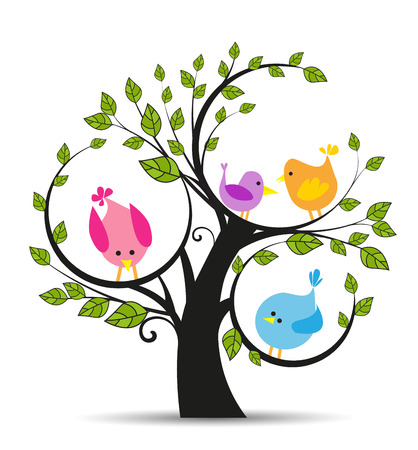 birds in tree: Vector illustration of a tree with a birds on a white background Stock Photo