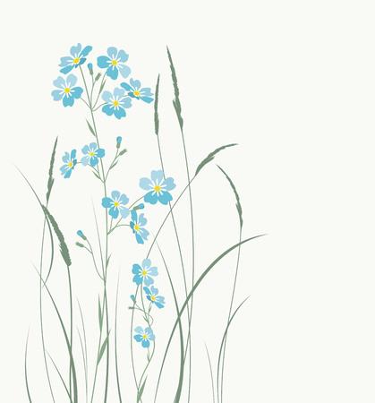 Vector blauw vergeet me niet bloemen