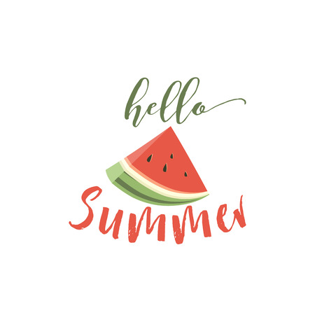 food: Hello summer card with melon Illustration