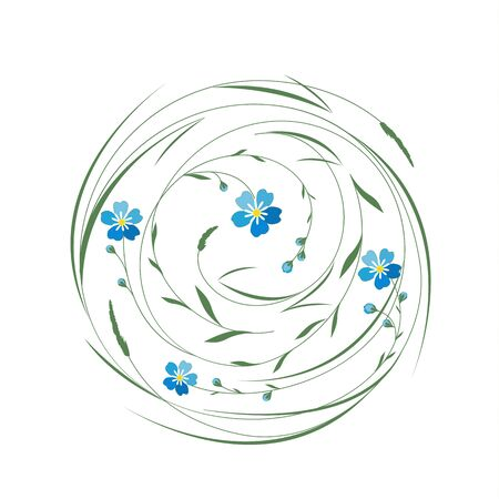 leaf: Circle with grass and flowers