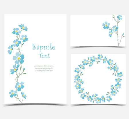 postcard: Vector blue forget me not flowers.