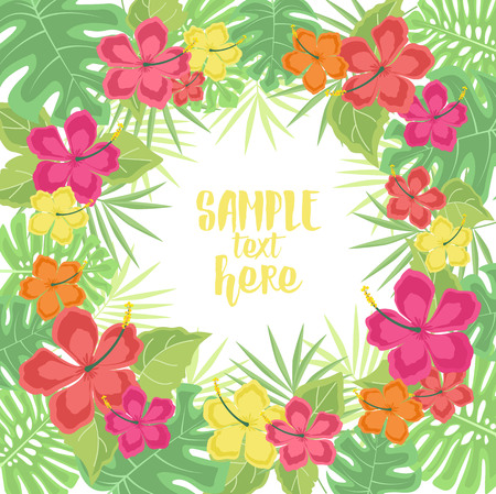 palm: Background with tropical flowers