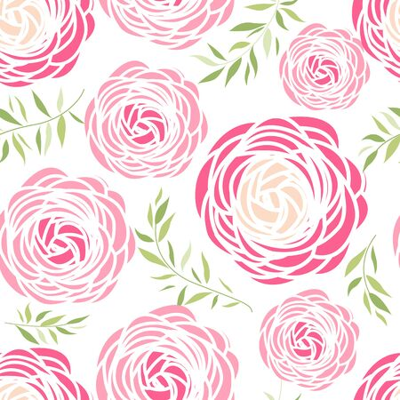 Seamless pattern with pink flowers Illustration