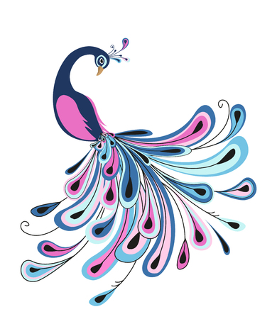 Pauw met kleurrijke veren