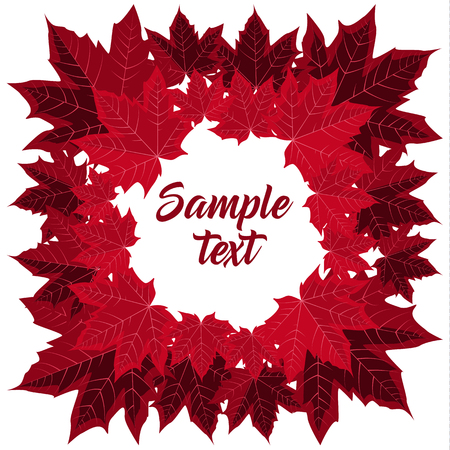 red wallpaper: Frame with Maple leaves Illustration