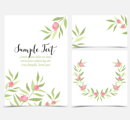 vintage postcard: Backgrounds with pink flowers
