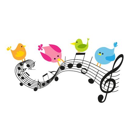 Notas musicales con pájaros