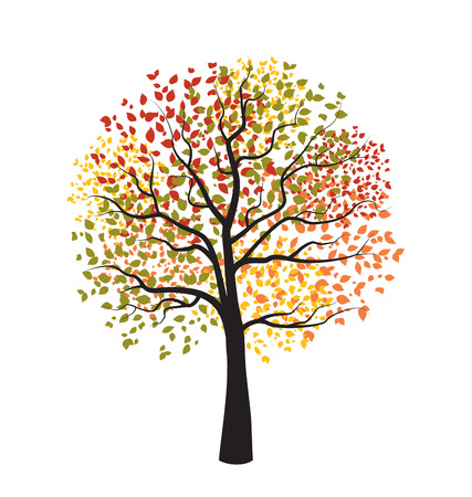 Autumn tree with falling leaves Illustration