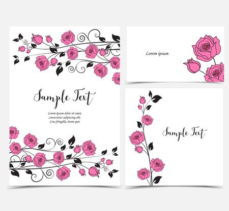 vintage postcard: Illustration of pink roses Illustration