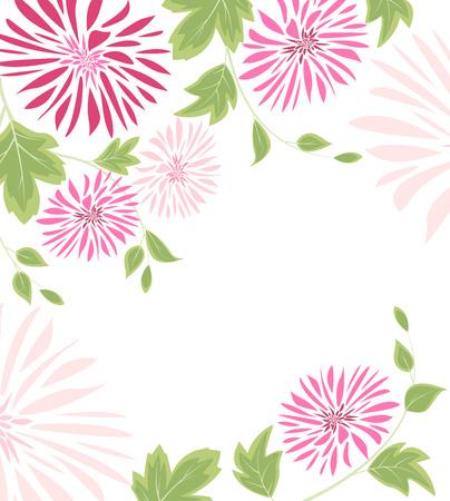 celebration party: Background of pink flowers and leaves Illustration