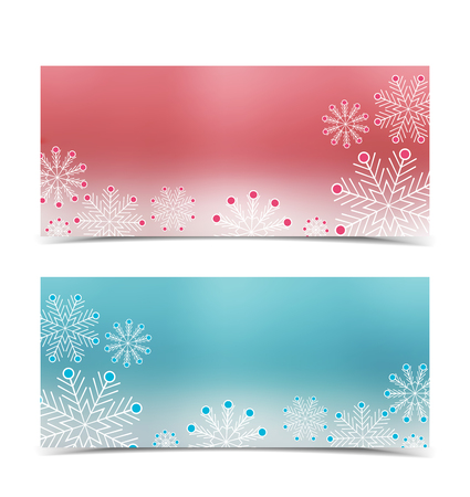 cold: Christmas banners with snow