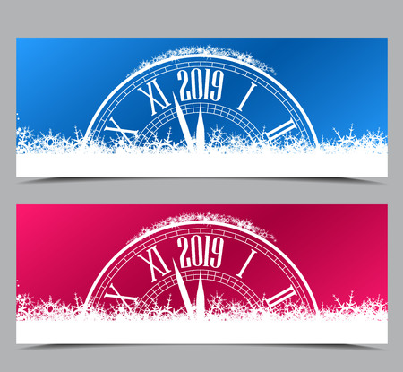 Happy New Year 2019, vector illustration of new year two banners with clock showing the year