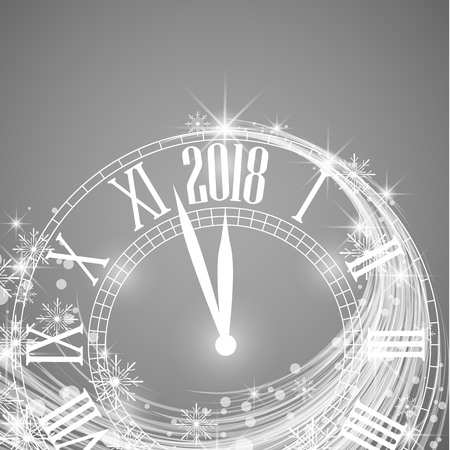 Happy New Year 2018, vector illustration of new year background with clock showing year Illustration