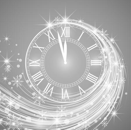 Szczęśliwy nowy rok, wektorowa ilustracja nowego roku tło z śniegiem i zegarem