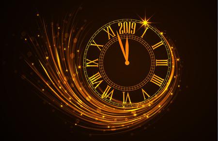 ハッピーニューイヤー2019、年を示す時計と新年の背景のベクトルイラスト