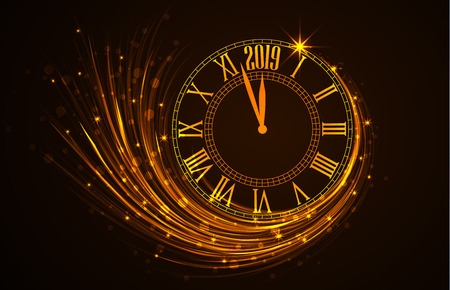 Happy New Year 2019, vector illustration of new year background with clock showing year Çizim