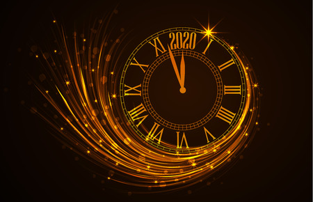 Happy New Year 2020, vector illustration of new year background with clock showing year