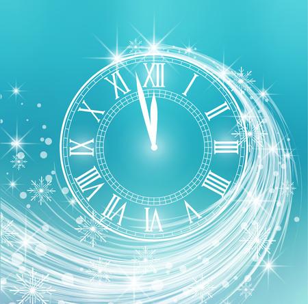 Feliz año nuevo, ilustración vectorial de fondo de año nuevo con nieve y reloj