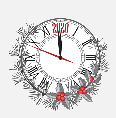 Happy New Year 2020, vector illustration Christmas background with clock showing year. Decoration of pine and mistletoe