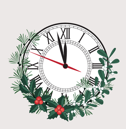 Happy New Year, vector illustration Christmas background with clock showing year. Decoration of pine and mistletoe Illustration
