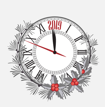 Happy New Year 2019, vector illustration Christmas background with clock showing year. Decoration of pine and mistletoe Illustration