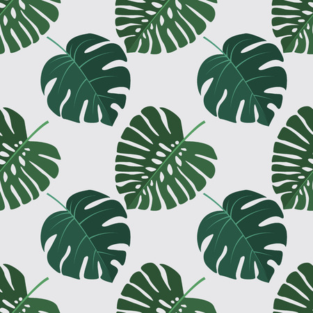 Vector green illustration of palm leaves background. Exotic seamless pattern Illustration