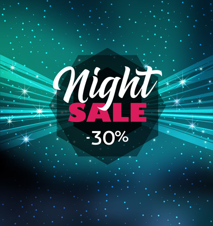 Vector illustration night sale dark banner. Abstract stage with clouds and stars