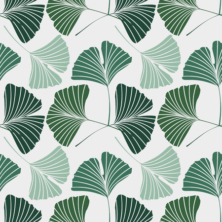 Vector Illustration ginkgo biloba leaves. Seamless pattern with leaves.