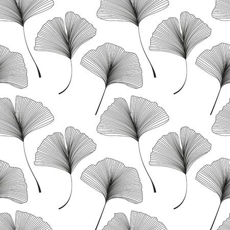 벡터 일러스트 레이 션 은행 나무 biloba 나뭇잎. 잎 원활한 패턴입니다.