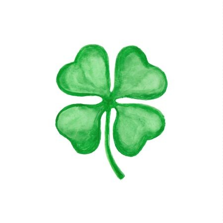 Vector four-leaf clover hand drawn watercolor illustration on white.