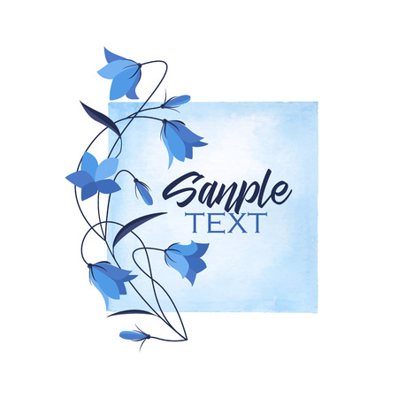 Vector illustration blue bell-shaped bloom with watercolor frame, summer flower Campanula