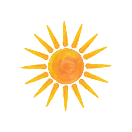 Watercolor sun isolated on white background vector illustration hello summer.