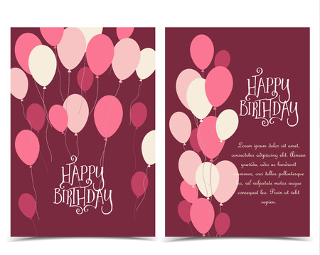 Vector illustration Happy Birthday greeting card with flying balloons with place for text.