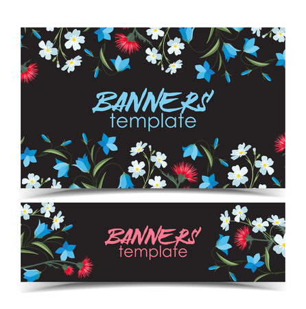 Vector illustration of colorful flowers. Summer floral decorations on a dark background. Banners template