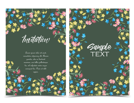 Vector illustration of colorful flowers. Summer floral decorations on a dark background. Set of greeting cards