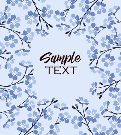 Vektor-Illustration blaue Blumen auf Hintergrund . Zweig der blauen Vergissmeinnicht Blumen Standard-Bild - 99069132