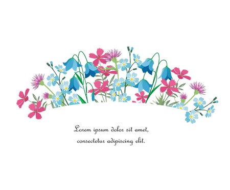 Vector illustration of colorful flowers. Frame floral decorations on a white background. Ilustração
