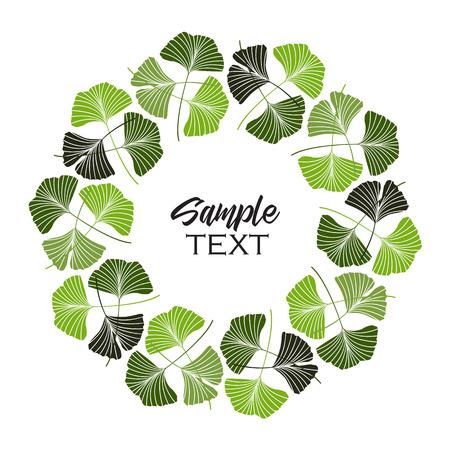 An illustration ginkgo biloba leaves in green natural frame. Vettoriali