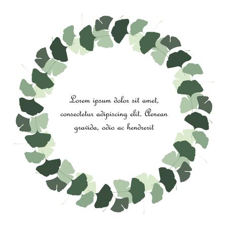 An illustration ginkgo biloba leaves with green natural frame.