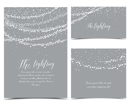 Vector illustration of light cords on a grey background. String Lights. Cheerful party and celebration