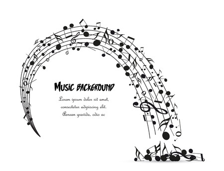 Vector decoration of musical notes in the shape of a circle. Music background